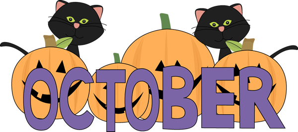 October clipart preschool. Pumpkins and black cats