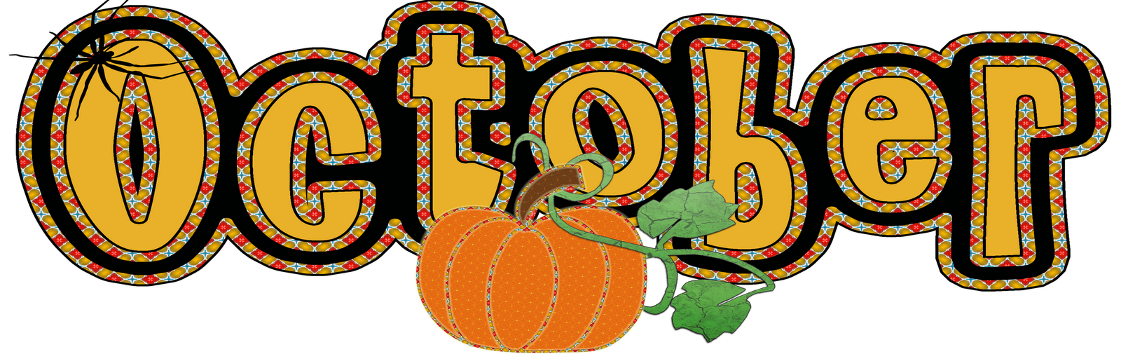 October clipart transparent. Calendar banner royalty free