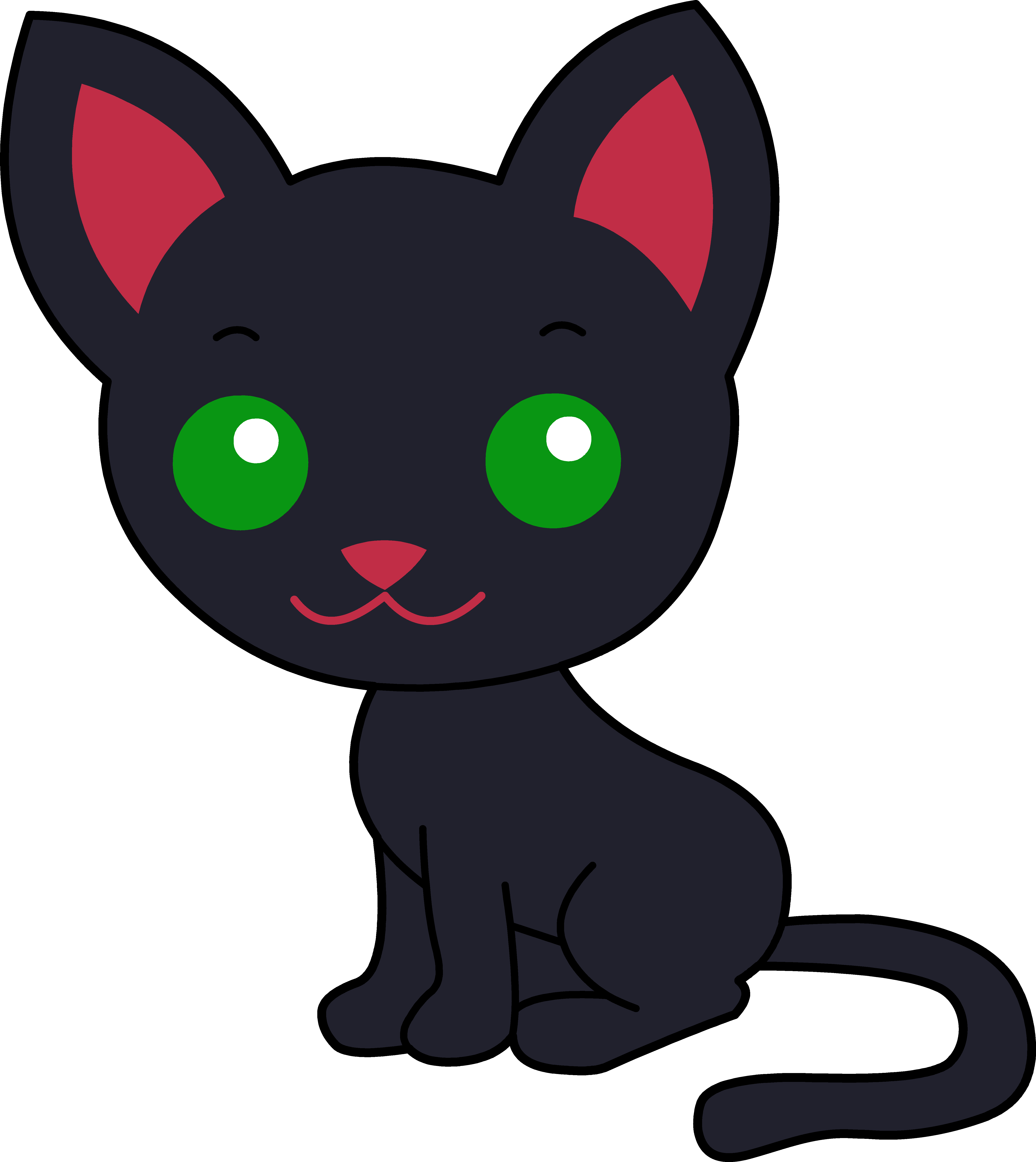 October png cat. Cute black clipart collection