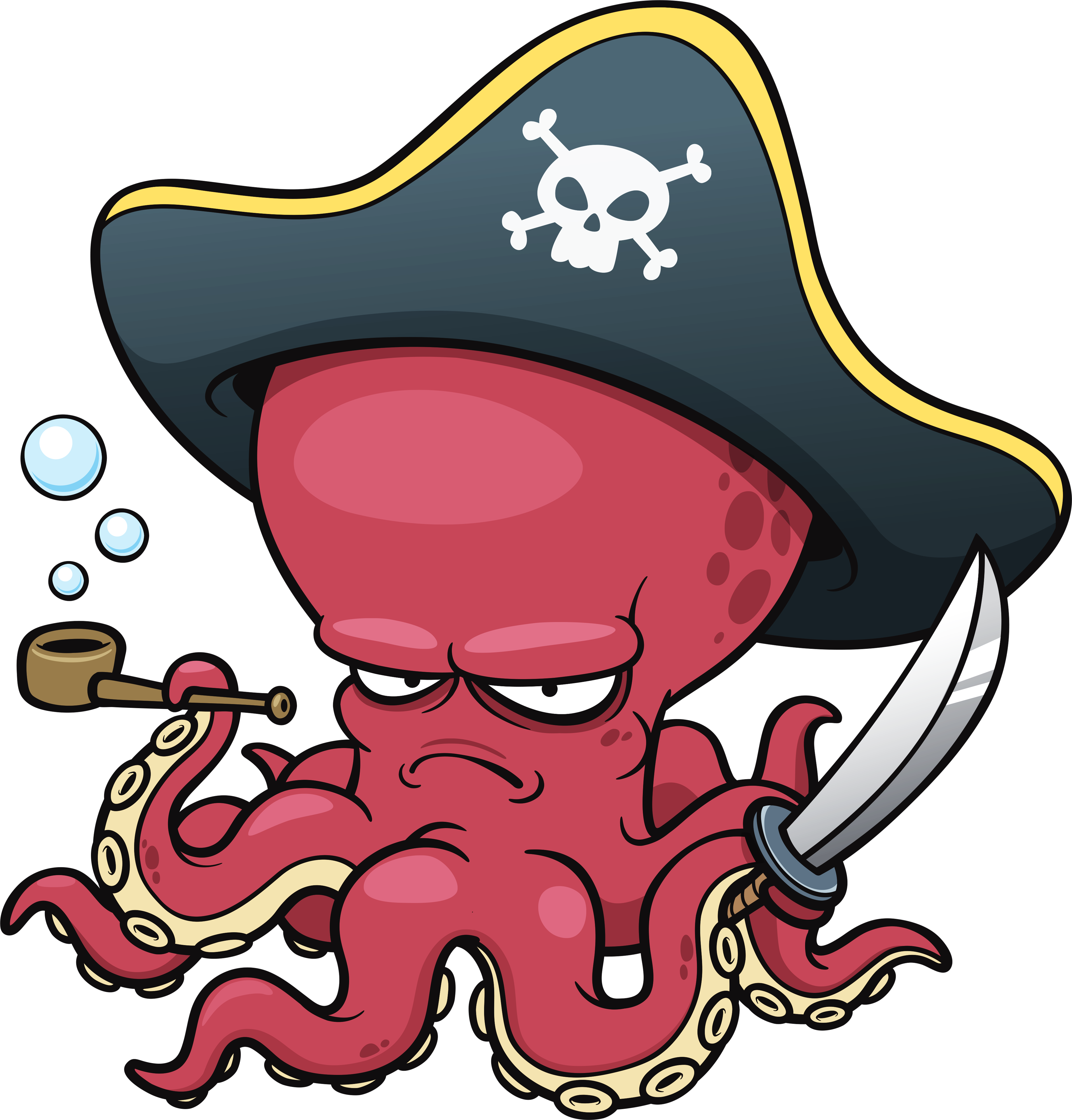 Tentacles holding png. Octopus pirate the art