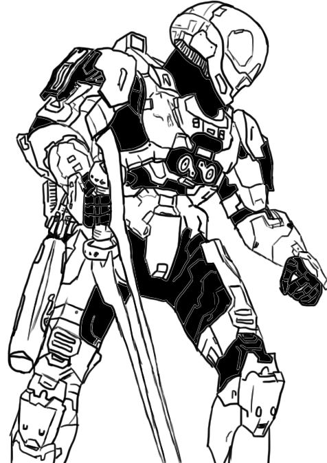 Odst drawing sad. Spartan eva line art
