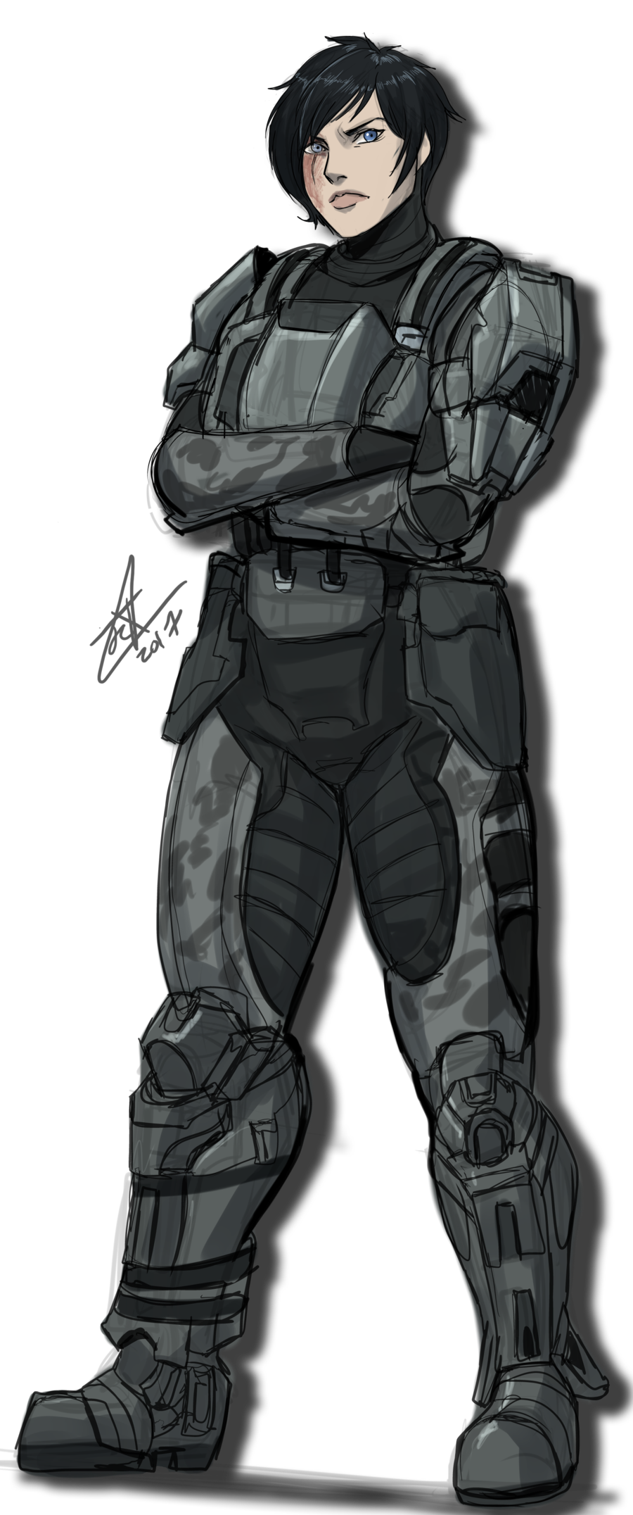 Odst drawing female. Sketch comm vi by