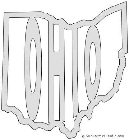 Vector ohio small. Map outline printable state