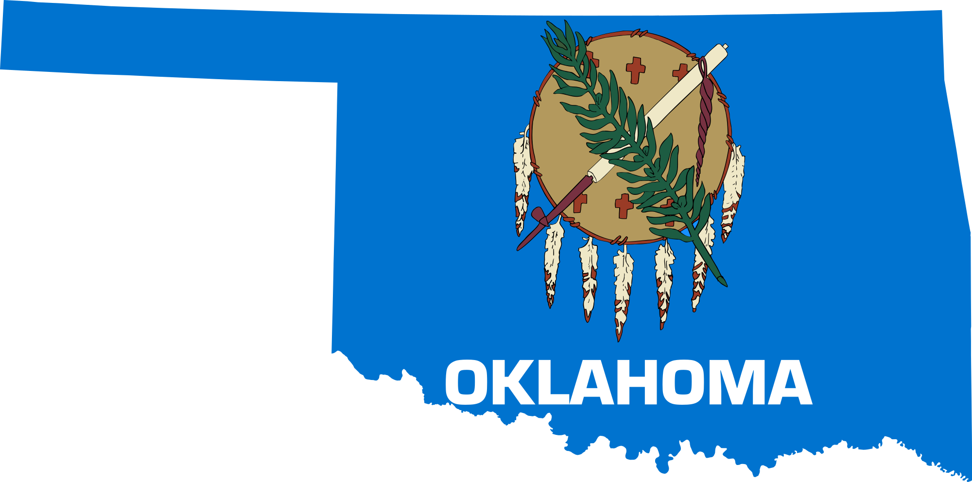 Oklahoma vector flag. File map of svg