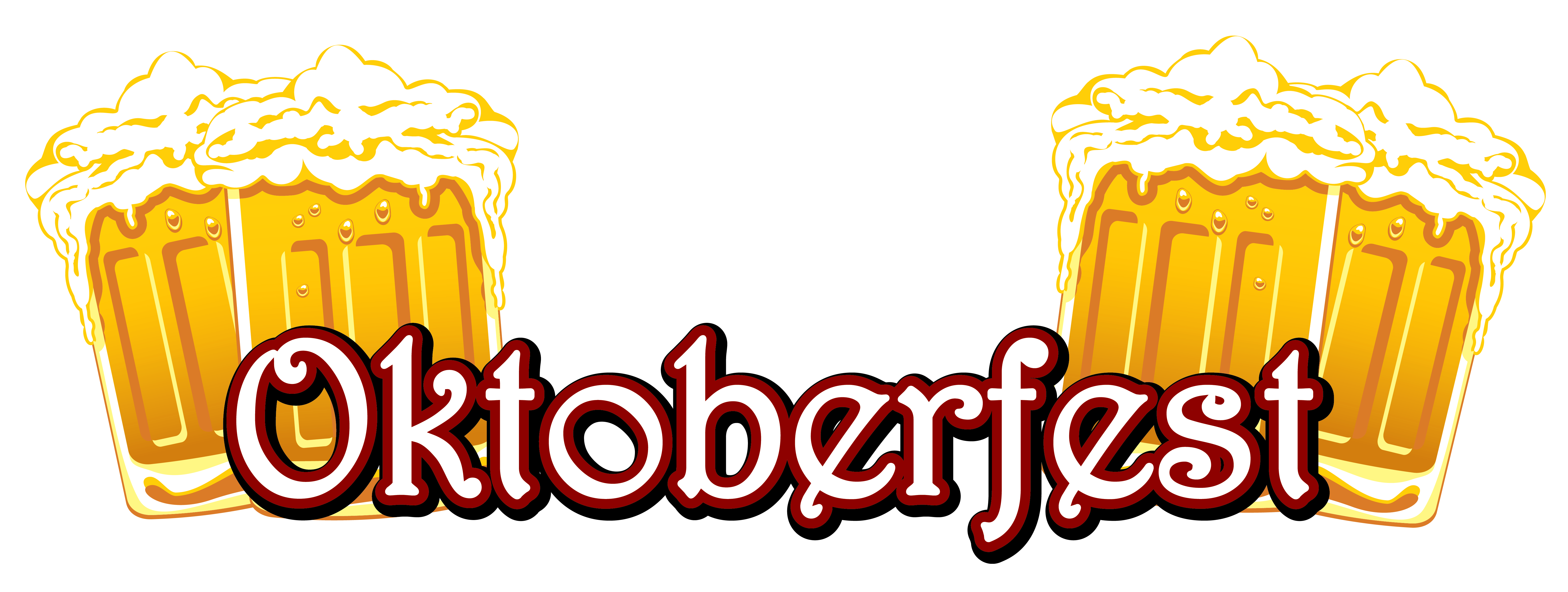 Oktoberfest vector artwork. Text and beers png
