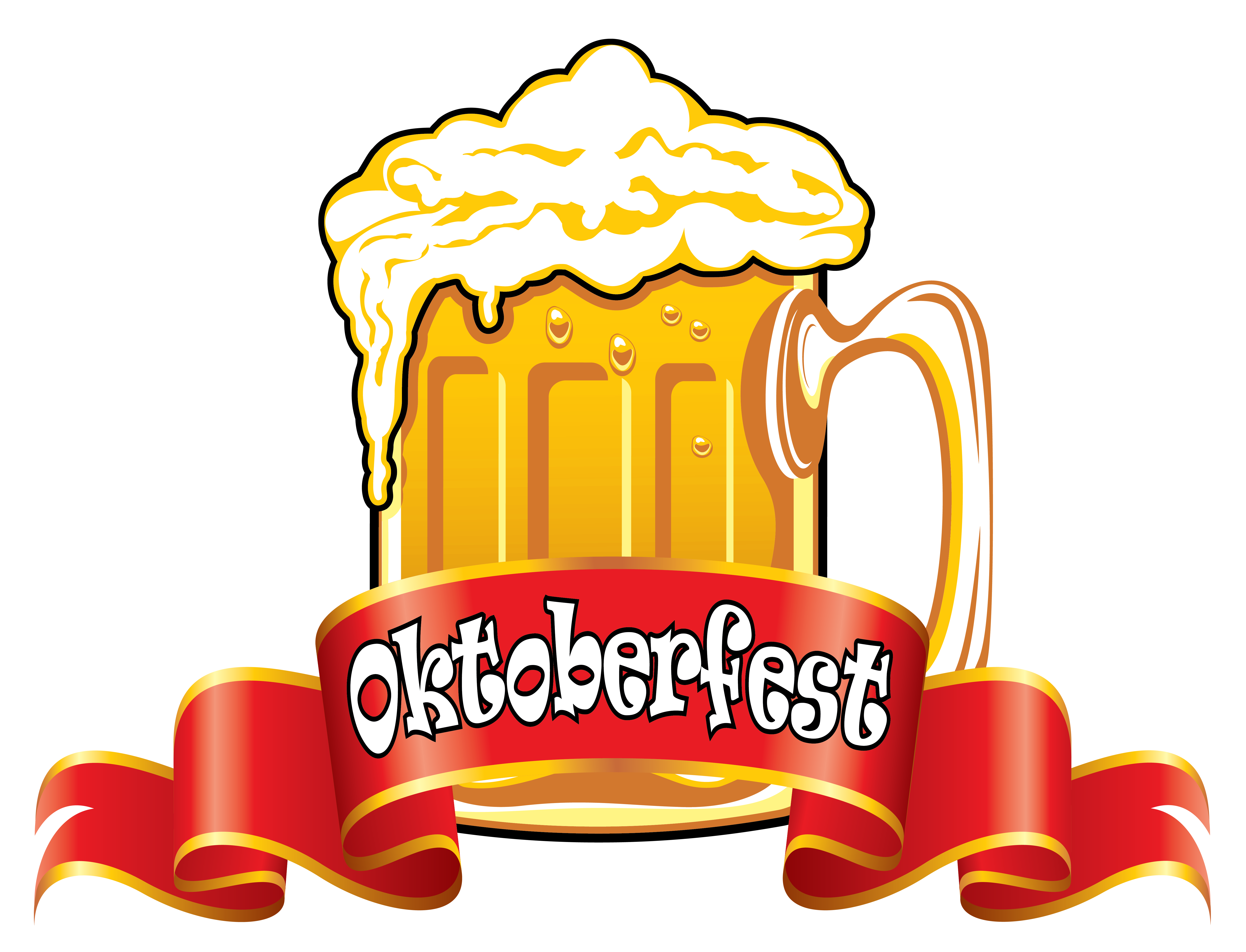 Oktoberfest clipart transparent. Red banner with beer