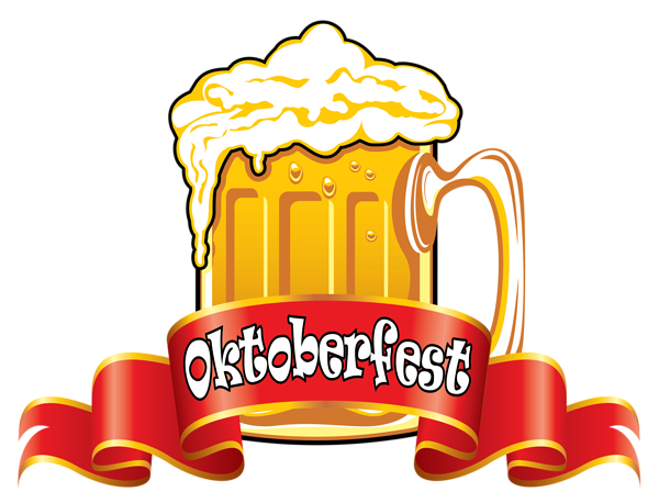 Oktoberfest vector background. Red banner with beer