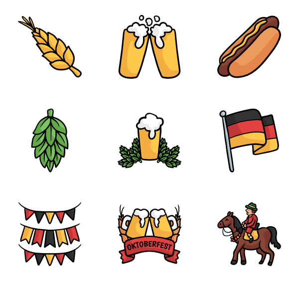 Oktoberfest vector cartoon. Icon packs svg