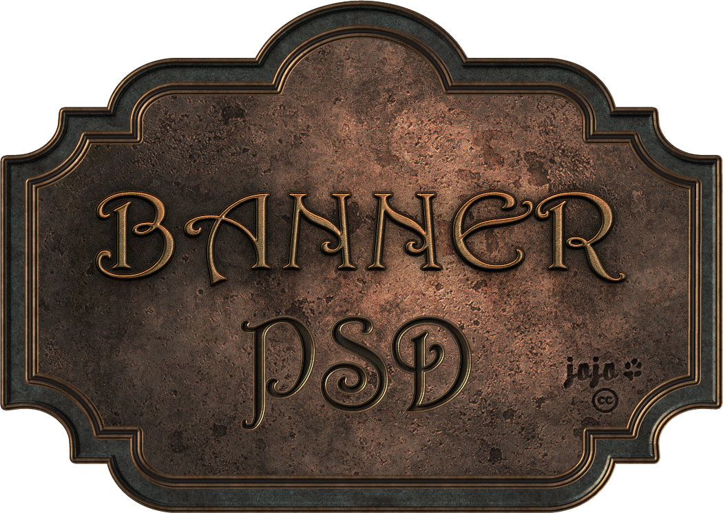 Old banner png. Bronze metal psd by
