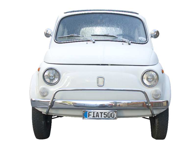 Old car png. Fiat front image isolated