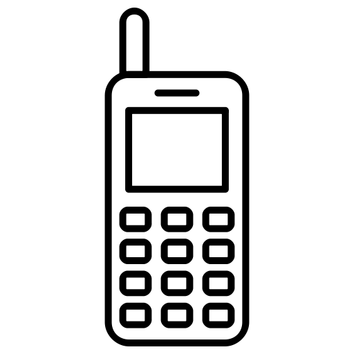 Old cellphone png. Mobile outline black icon