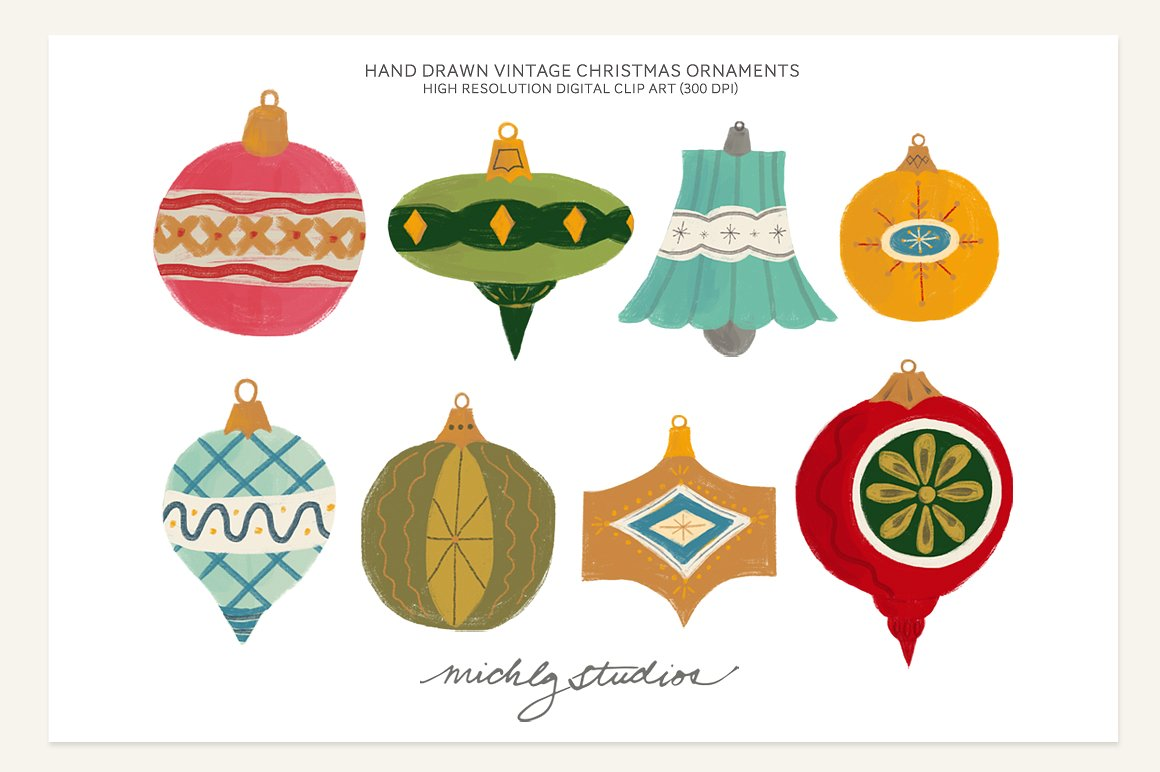 Old clipart christmas. Vintage ornament illustrations creative