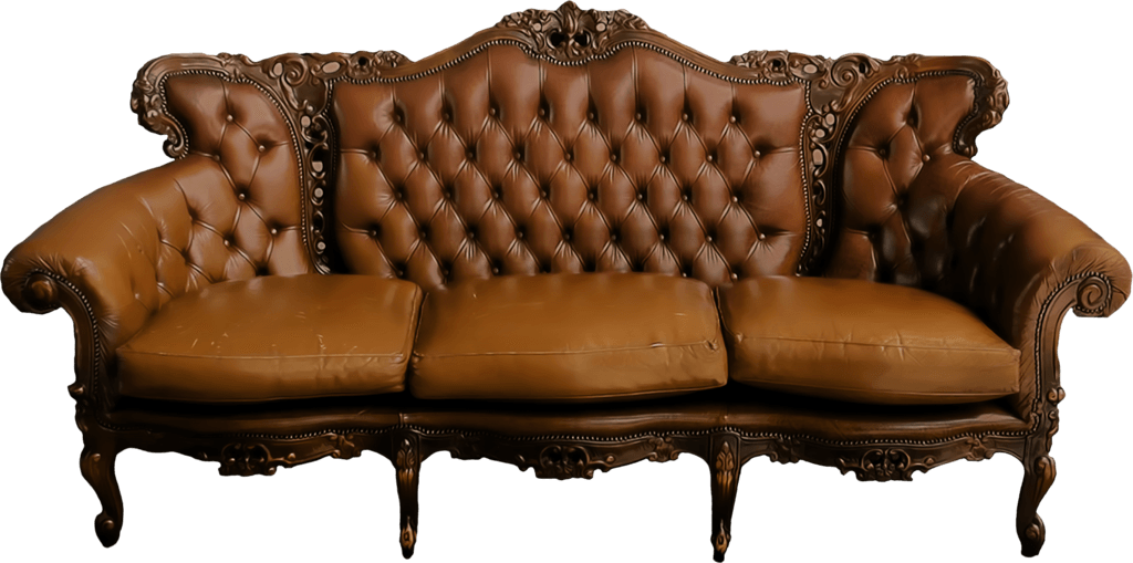 Old couch png. Large vintage sofa transparent