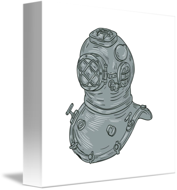 Freelance drawing old. School diving helmet by
