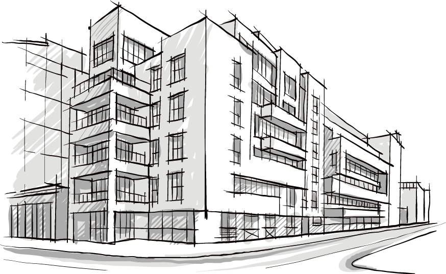 Old drawing architectural. Building architecture sketch hand