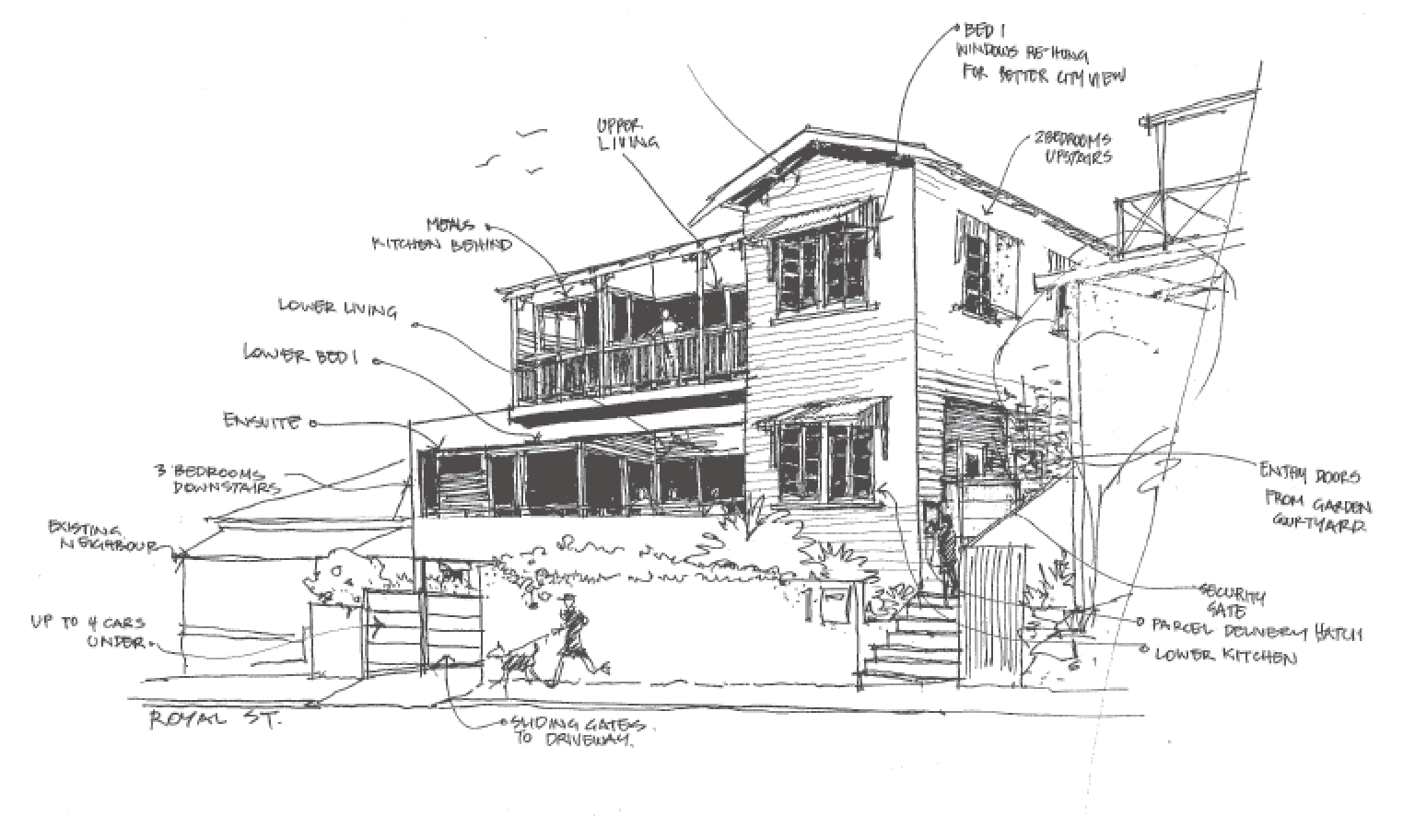 Architectual drawing black and white. Placemate architects renovation architect