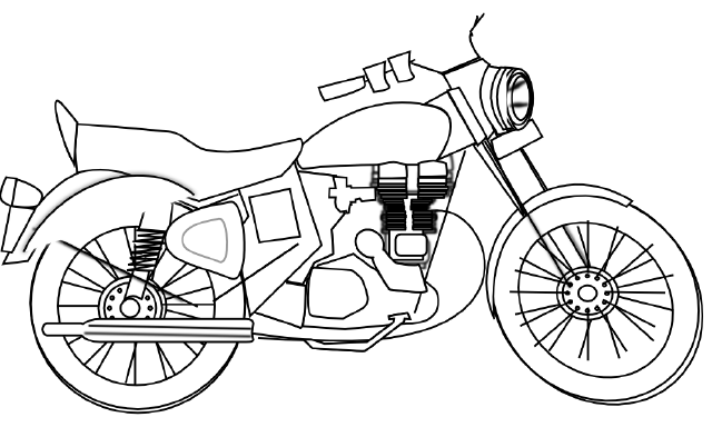Old drawing biker. Vintage motorcycle at getdrawings