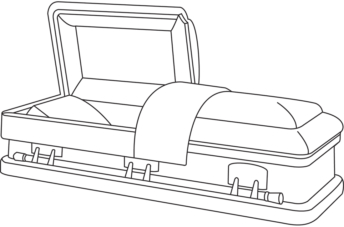 Old drawing coffin. Batesville casket classic collection