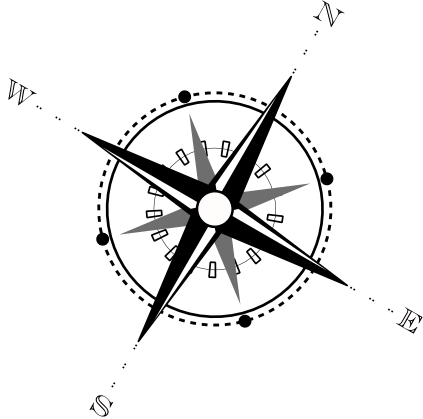 Old drawing compass. Create a vector hall