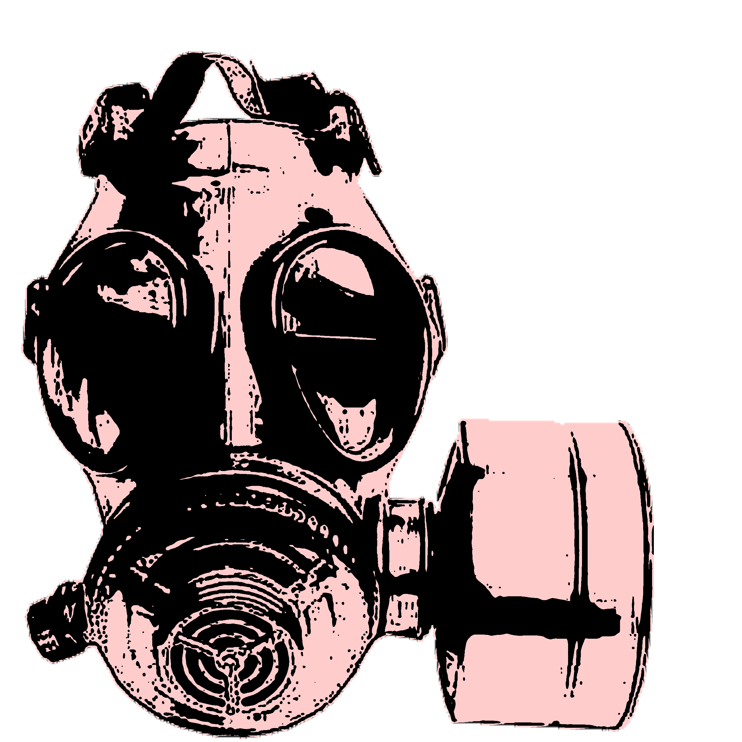 Old drawing gas mask. In pink and black