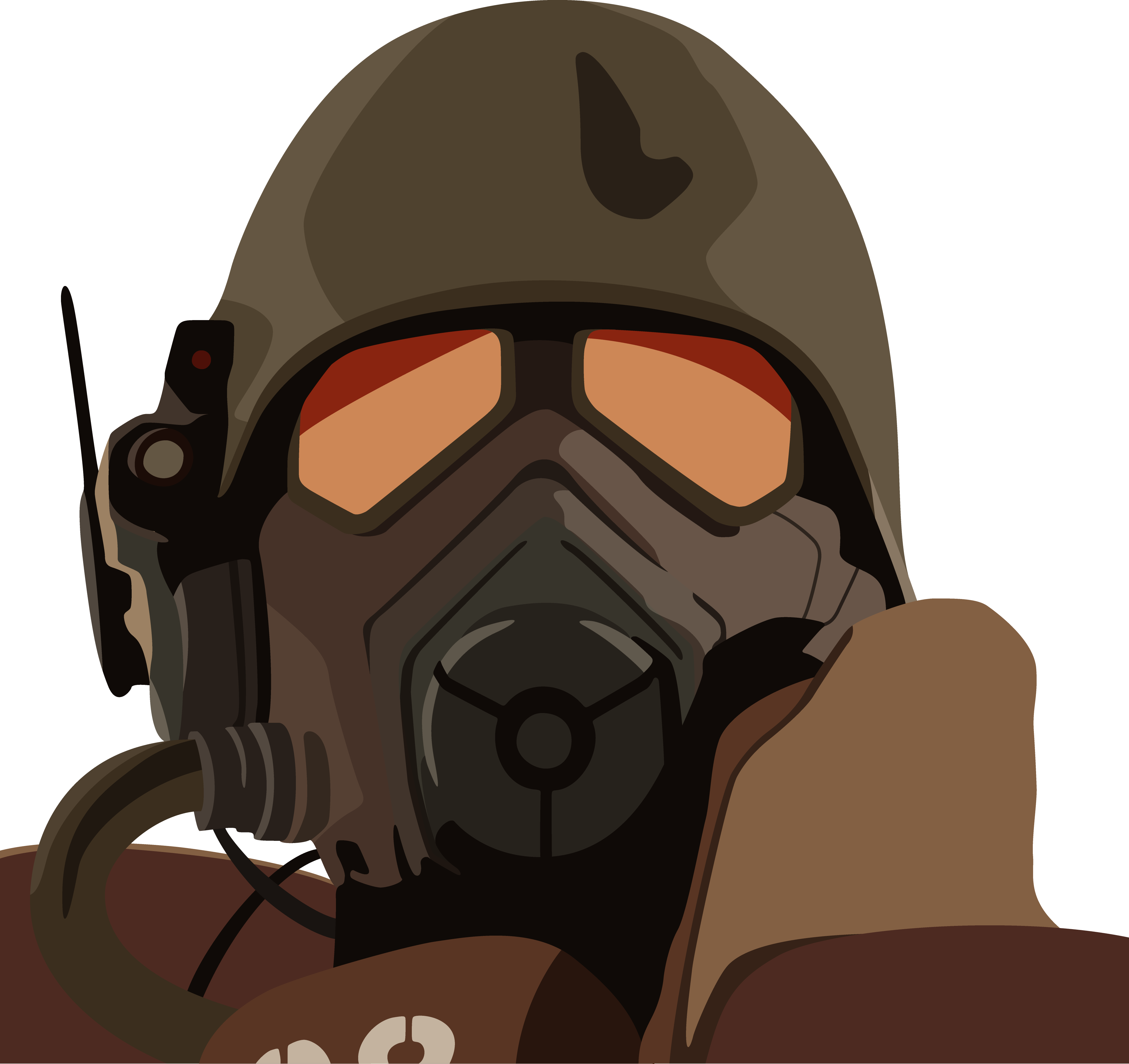 Old drawing gas mask. Ncr ranger armor vector