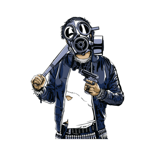Old drawing gas mask. Apocalyptic soldier wearing t