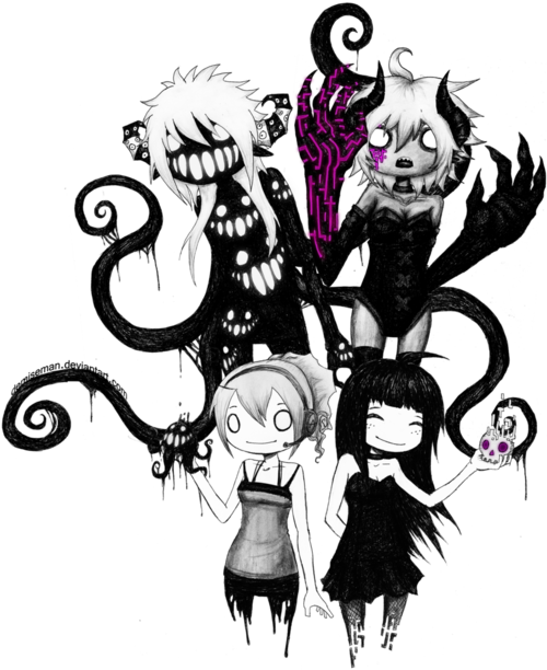 Collection of free goth. Drawing dark cartoon banner library