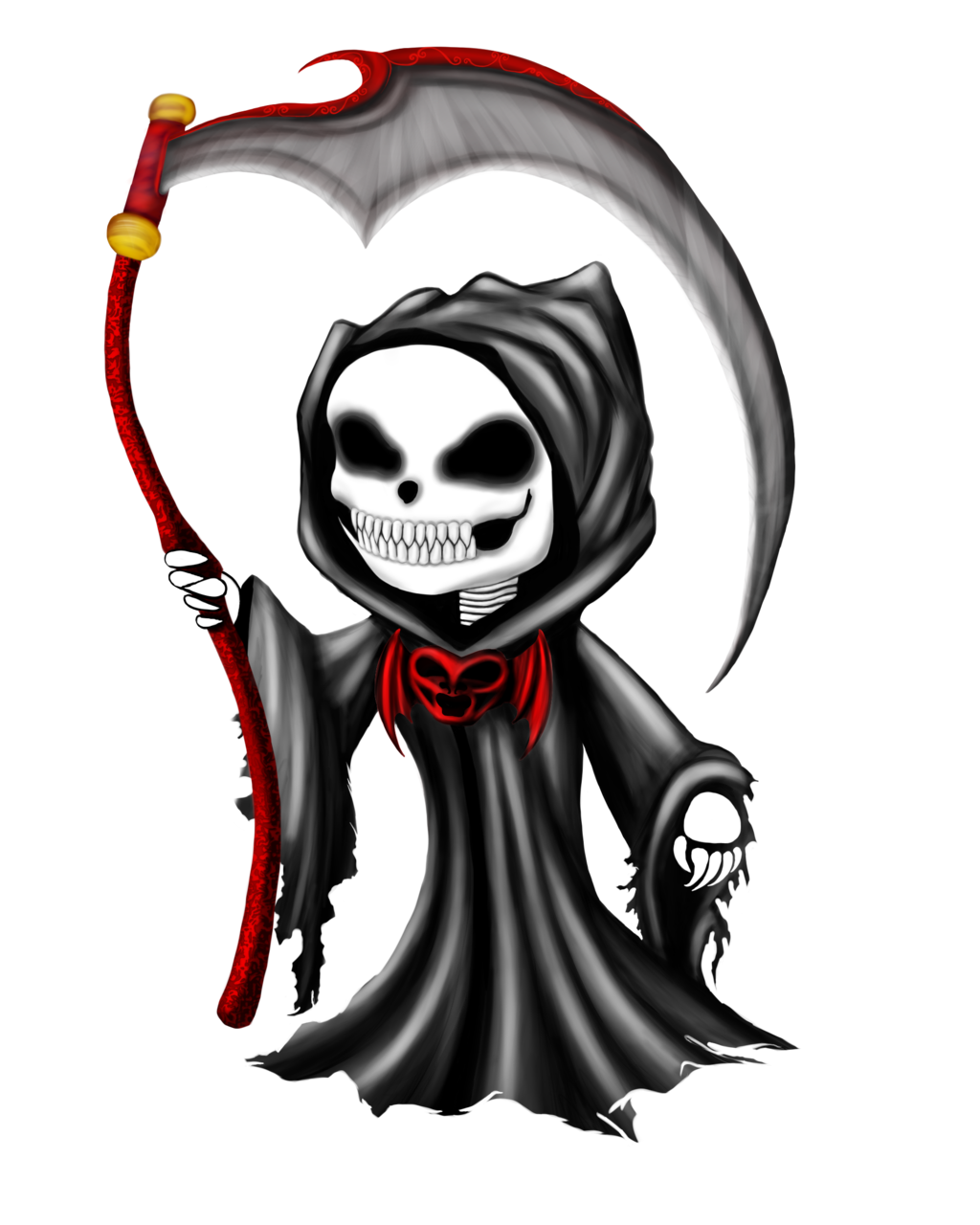 Old drawing grim reaper. Death calavera chibi transprent