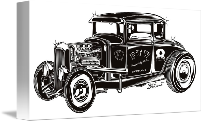 Drawing realism car. Ftw hot rod by