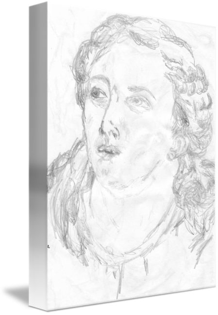 Self drawing head. Female copied from an