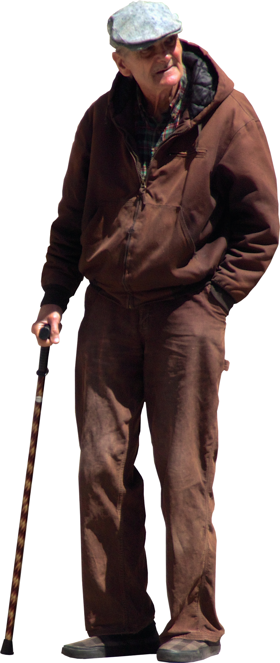 Walking people png. Old man with stick