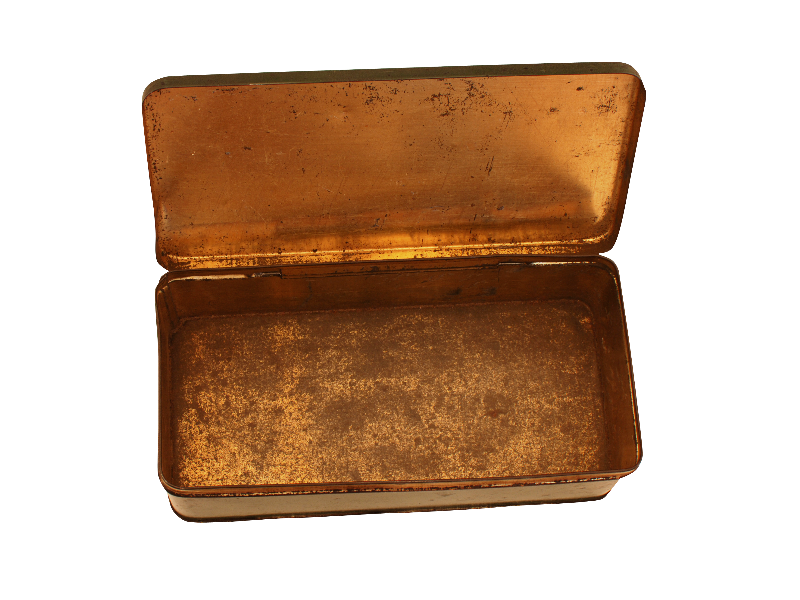 Old open wallet with info png. Vintage metal box isolated