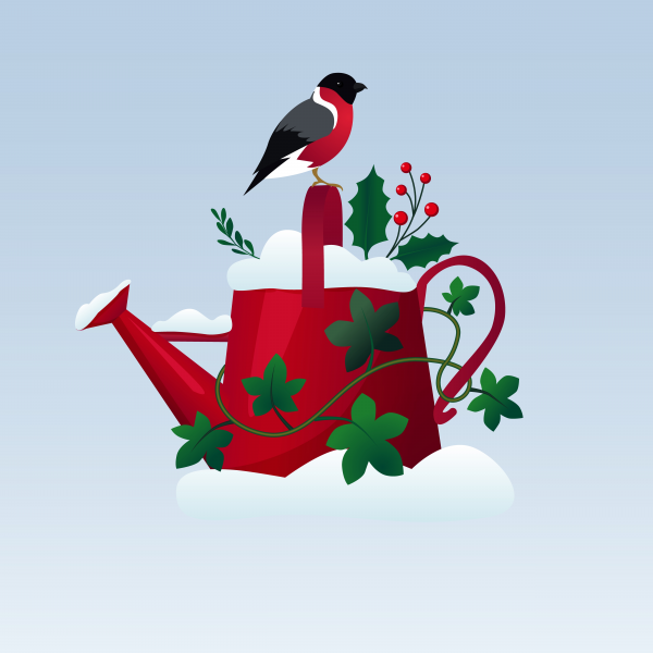 Old red watering can on in the snow with a bird sitting on it card design template.