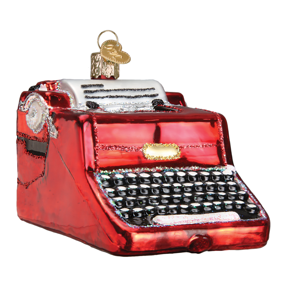 Old typewriter png. World christmas ornament