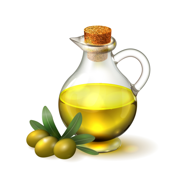 Olive oil in a glass bottle with handle and corck and olives wit.