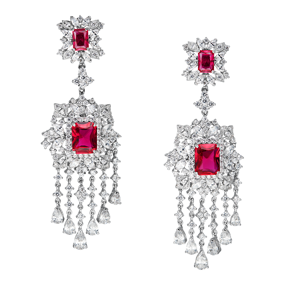 earring transparent red