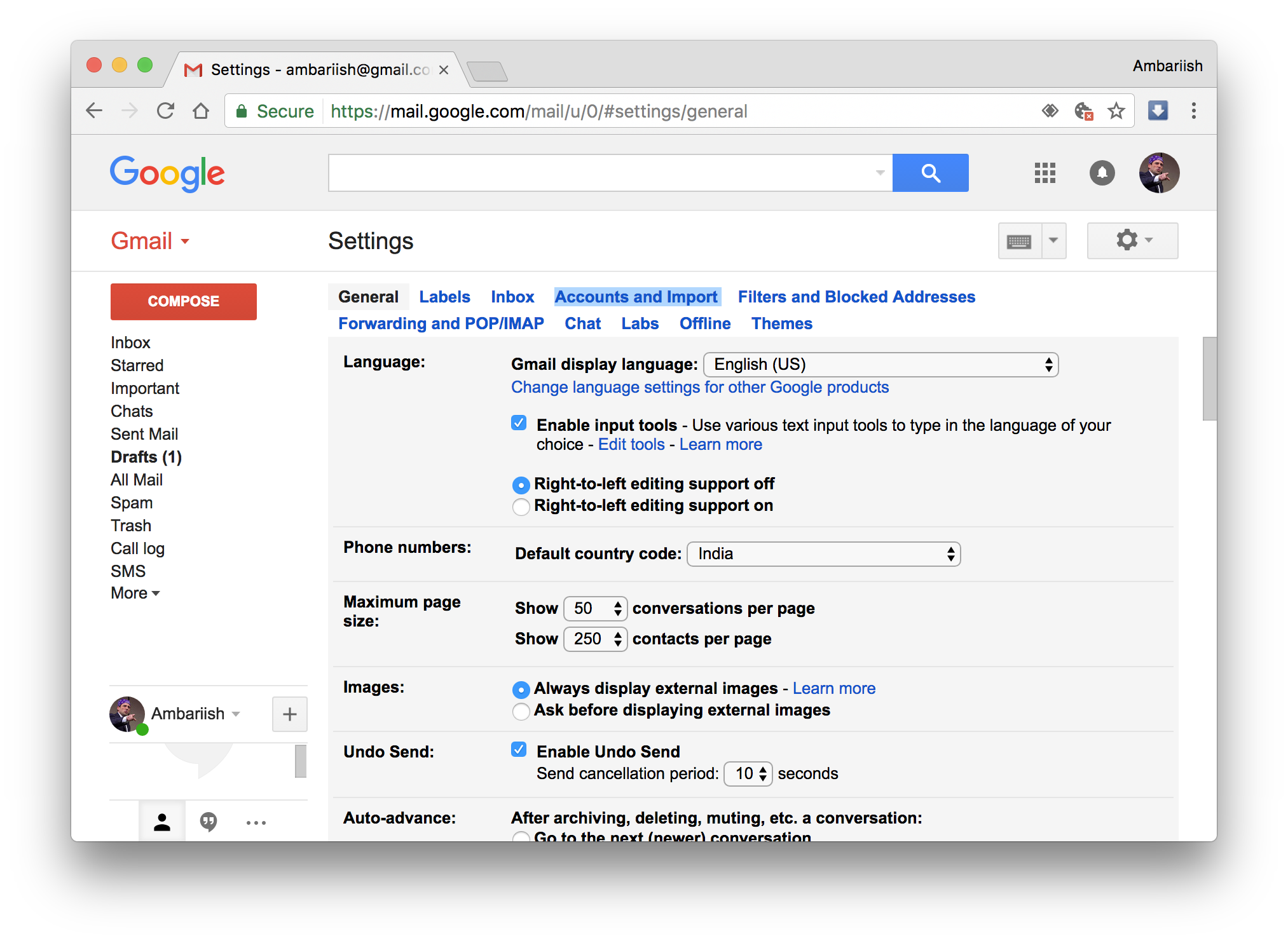 One of my gmail accounts lets me send png the other gmail account wont. How to add multiple