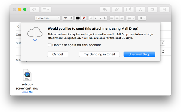 One of my gmail accounts lets me send png the other gmail account wont. How to large files