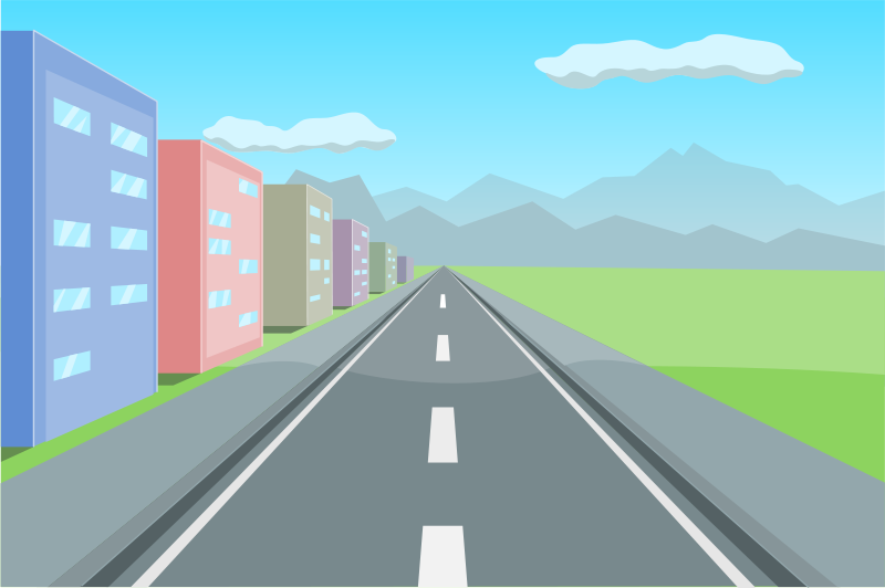 One Point Perspective. Free clipart road in