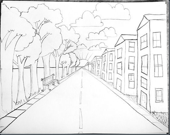 One Point Perspective. Drawn street x free
