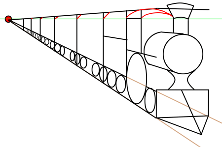 One Point Perspective. Step drawing trains in