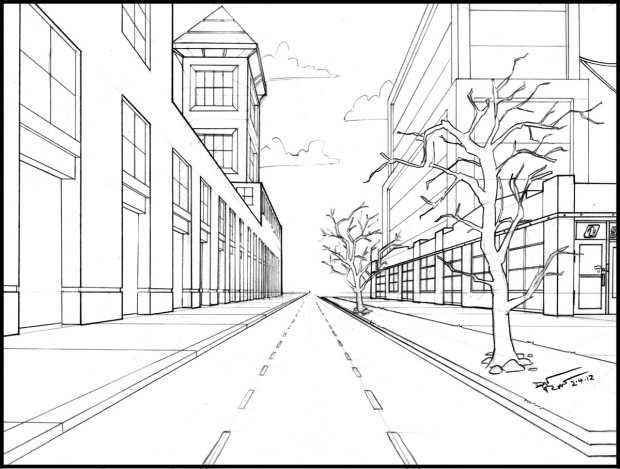 One Point Perspective. Drafting rotation mr