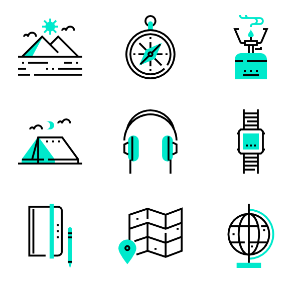 One vector color. Detailed straight icon family