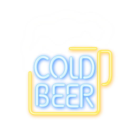Open bar logo neon png. Beer sign transparent svg