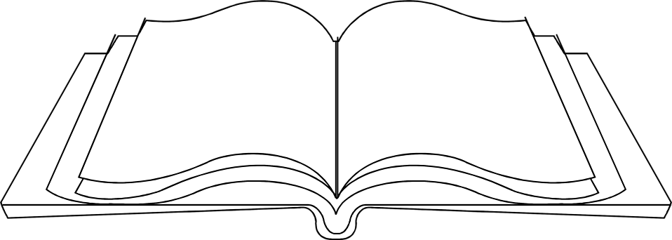 Blank open book png. Black and white transparent