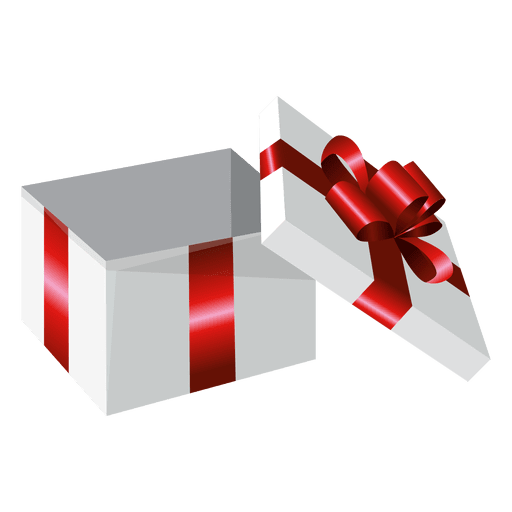 Vector present gift. Open wrapped box transparent