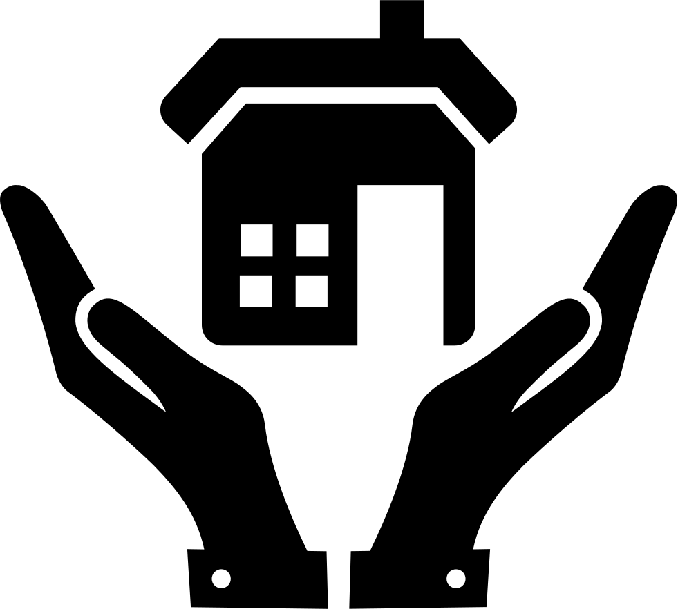 Open hands png. And a home svg