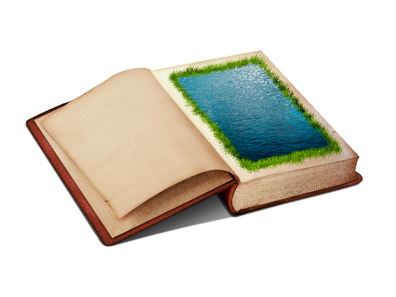 Open png in photoshop. Book clipart with water