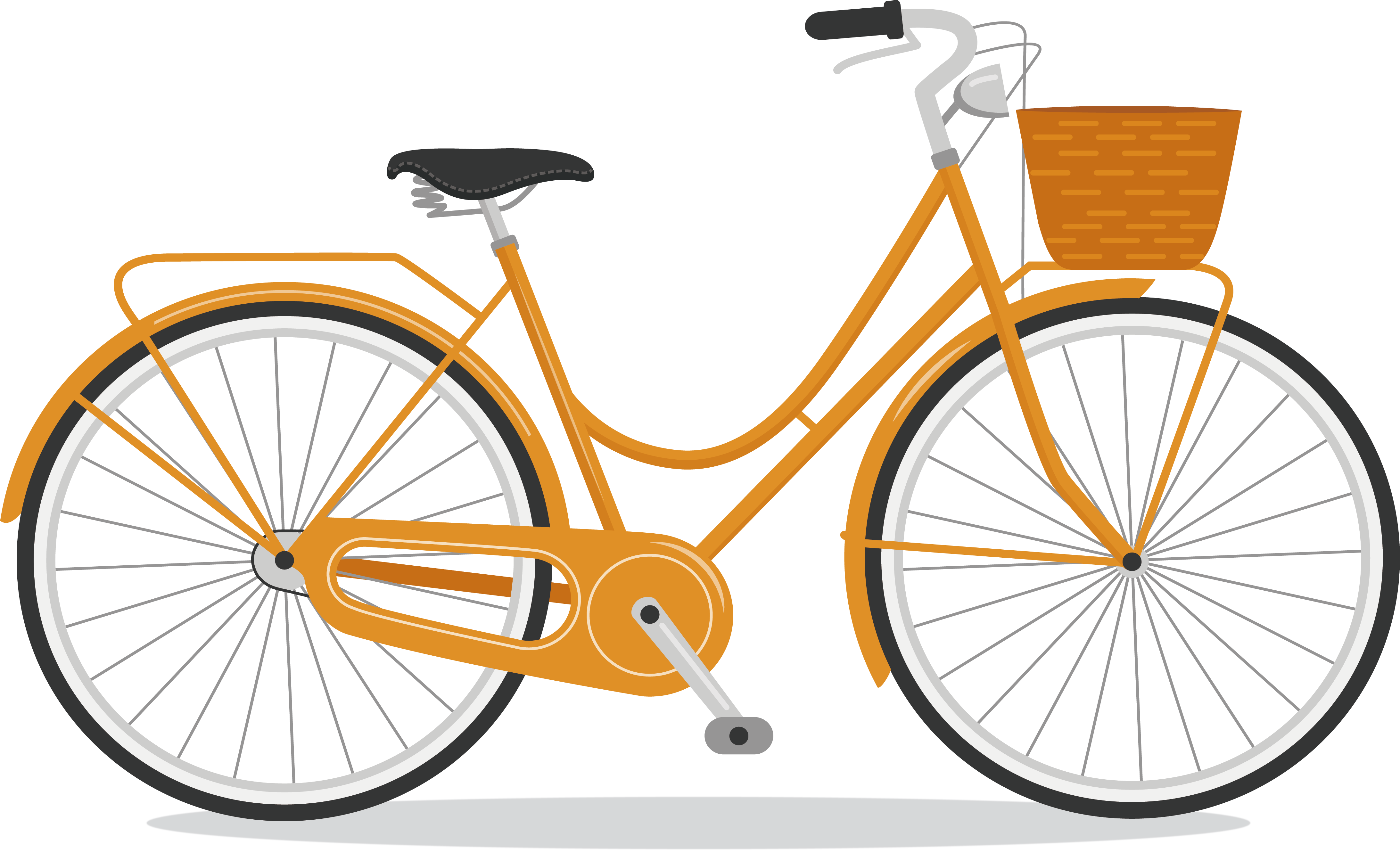 Orange bicycle. Clipart bike