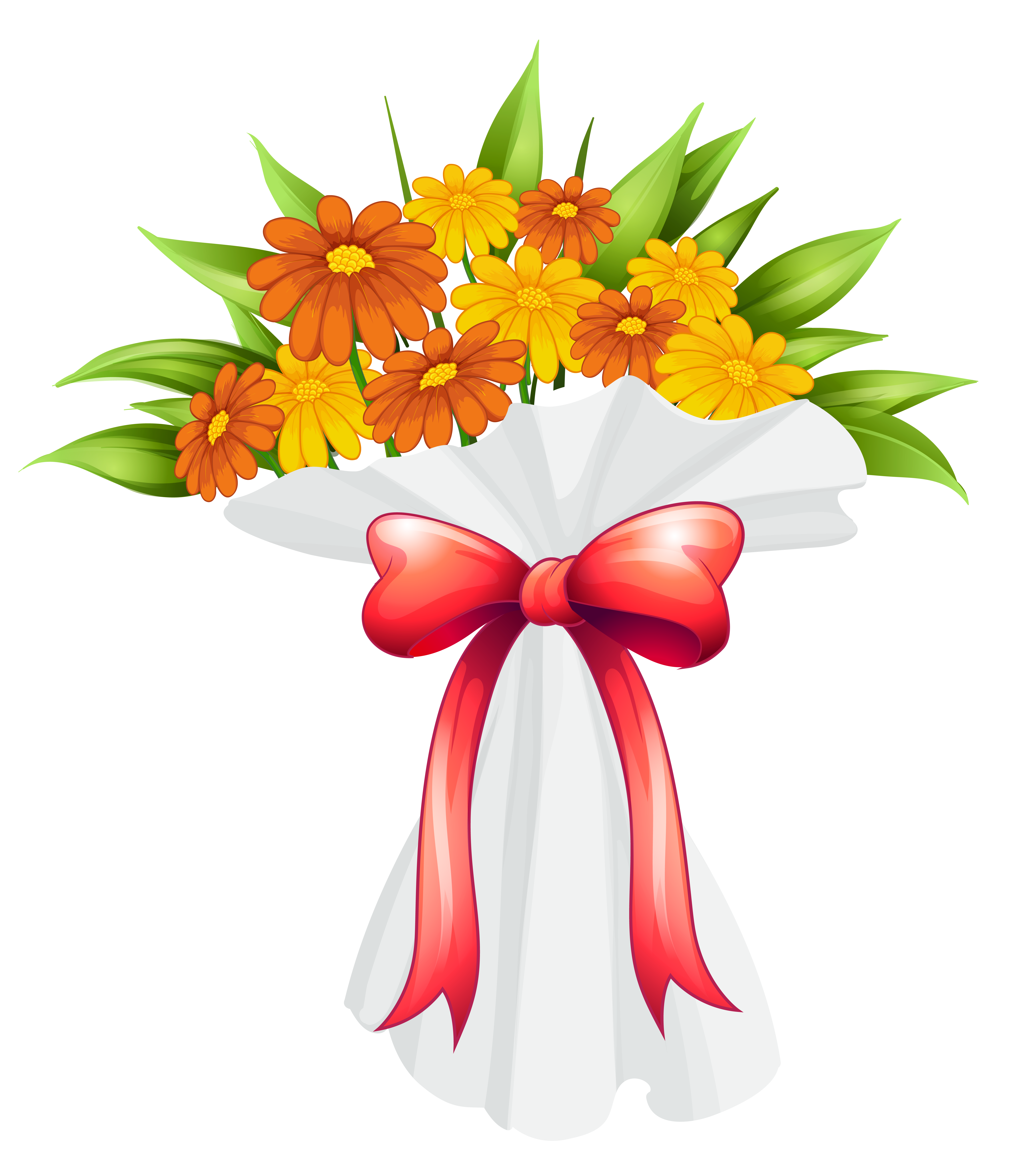 Flower png cartoon. Red and orange flowers